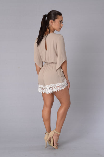 Daydreaming Romper - Taupe
