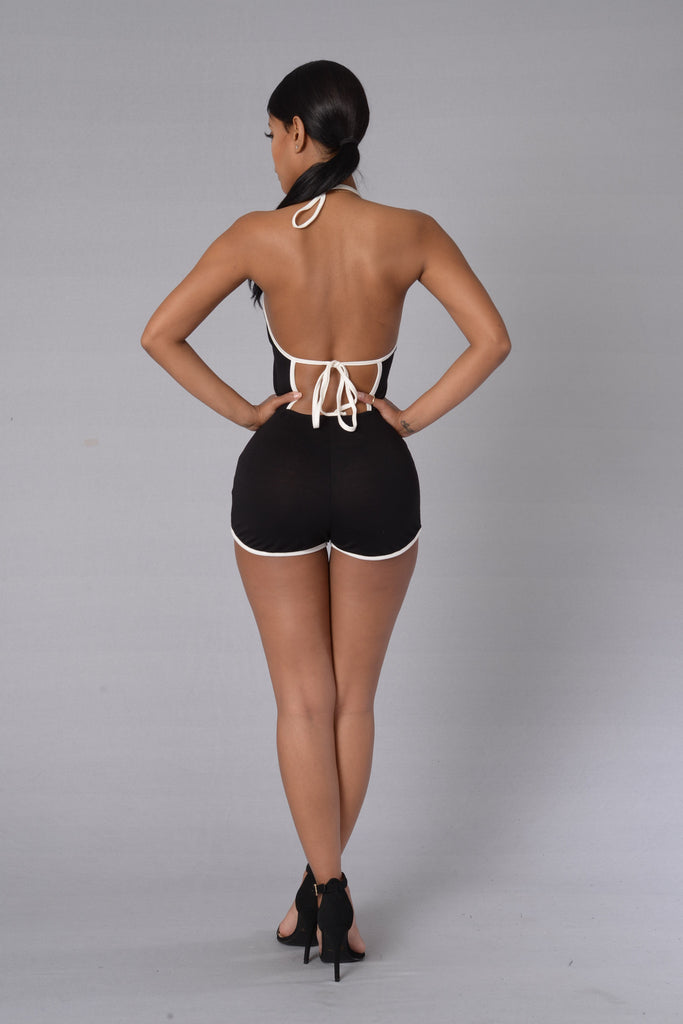 Adventure Romper - Black/White