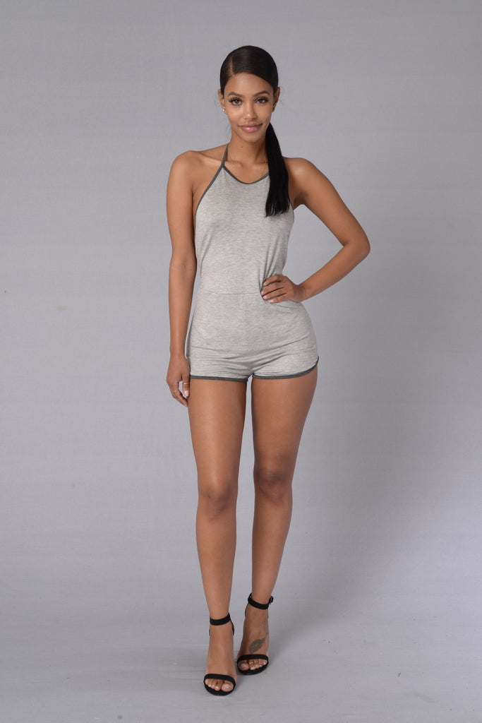 Adventure Romper - Heather Grey/Charcoal