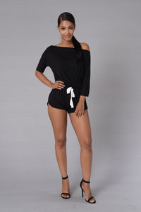 Snuggled Down Romper - Black
