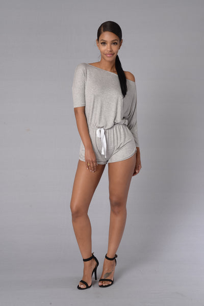 Snuggled Down Romper - Heather Grey