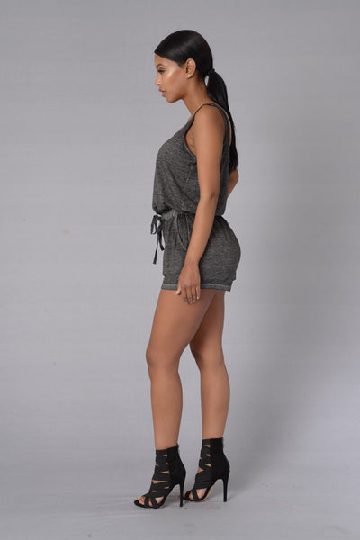 Lounging Around Romper - Charcoal
