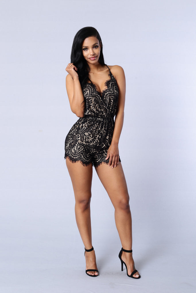 Romanticized Romper - Black