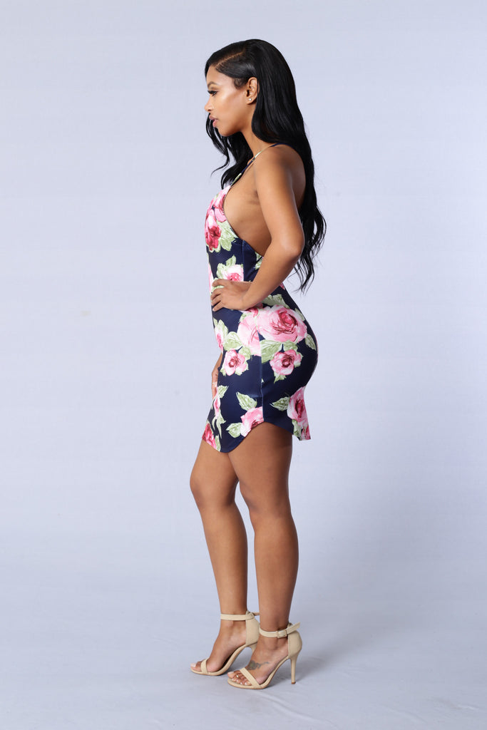 Rose Garden Dress - Navy