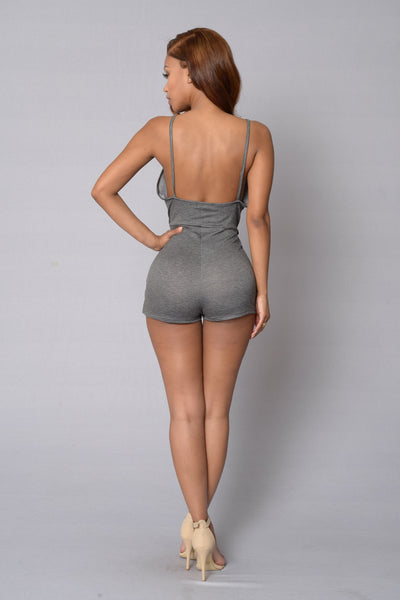Wrap Around Romper - Charcoal