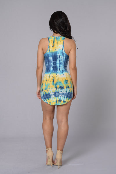 Colors Of The Wind Dress - Aqua/Yellow