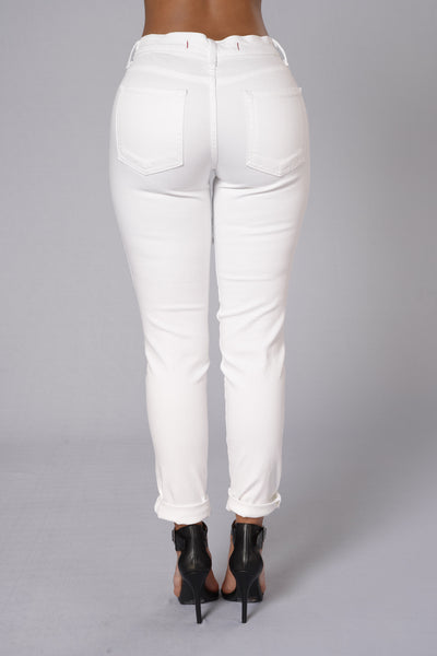 Take A Peek Jeans - White