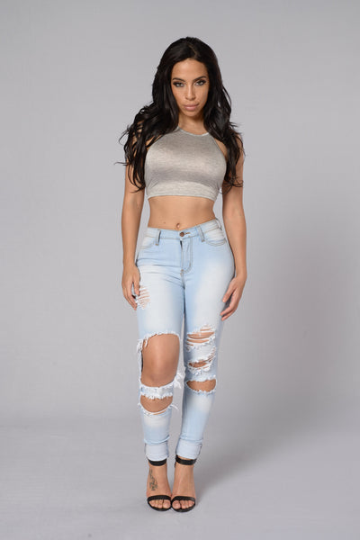On A Summers Day Top - Heather Grey