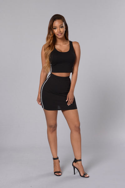 Back And Better Skirt - Black/Heather Grey