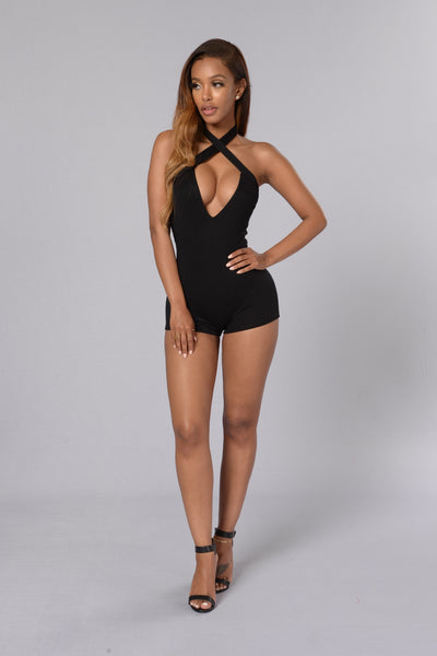 Key to My Heart Romper - Black