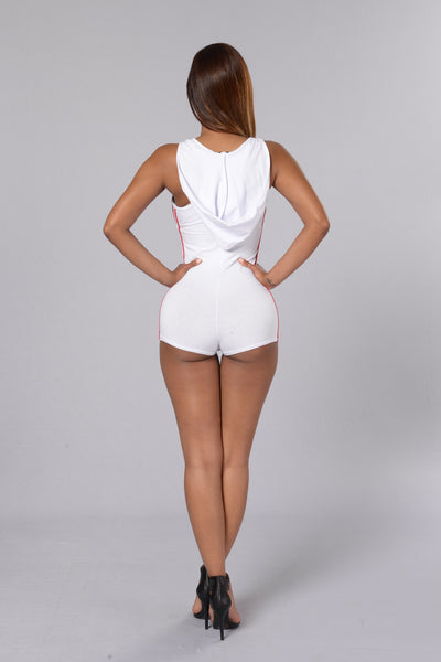 Another Level Romper - White/Red