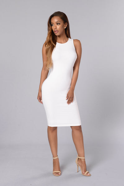 Fingers Crossed Dress - White
