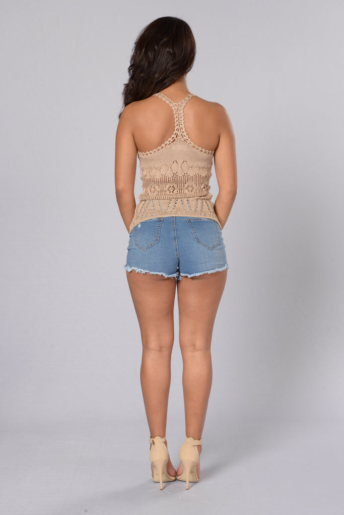 Death Valley Crochet Tank - Beige