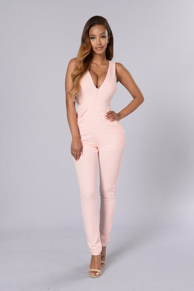 Bad as Ever Jumpsuit - Blush