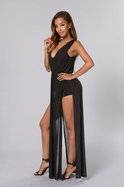 Mesh is More Romper - Black