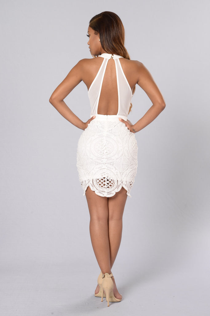 Take Notice Crochet Dress - White