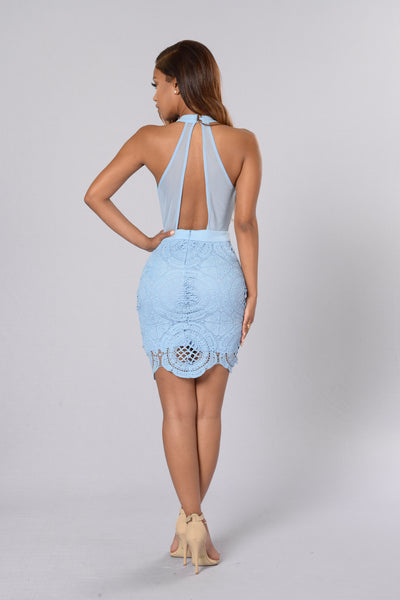 Take Notice Crochet Dress - Dusty Blue