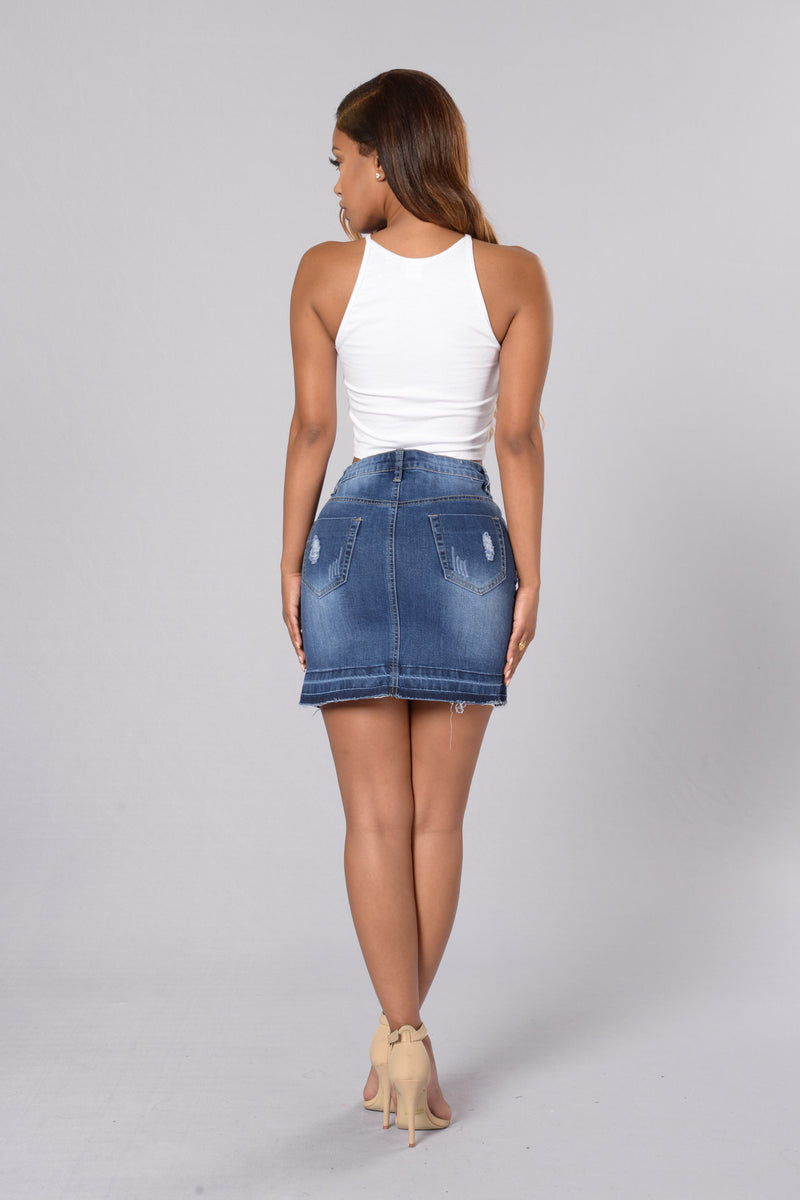 Cutting Class Denim Miniskirt - Blue