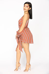 Remember The Summer Stripe Romper - Rust