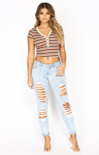Introspect Striped Top - Beige Multi