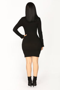 Cute As A Button Mini Dress - Black