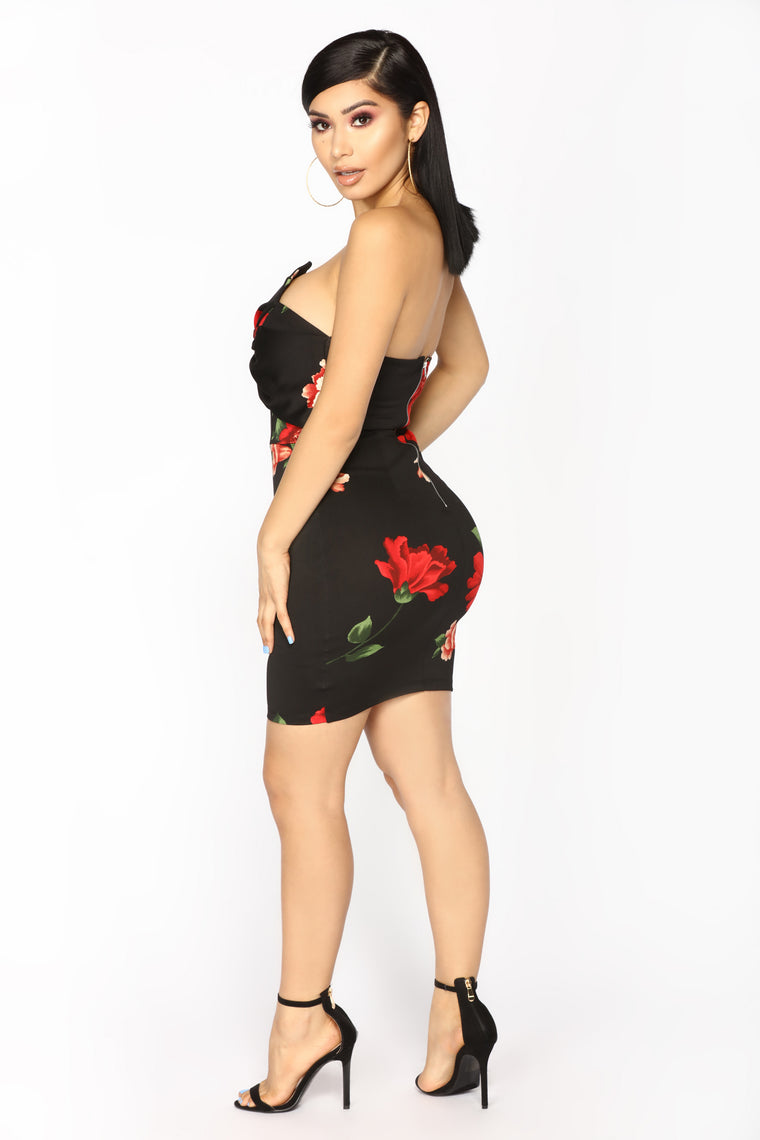 Midnight Flower Mini Dress - Black