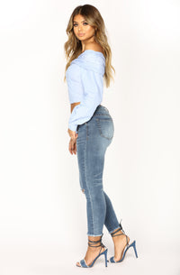 I Love Your Smile Ankle Jeans - Medium Blue Wash