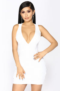 Make Headline Sequin Dress - White
