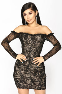 Kiss It Out Lace Dress - Black