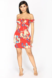 Meant To Be Mini Dress -  Red