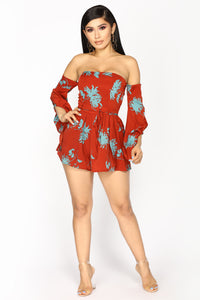 Put It In Park Floral Romper - Wine