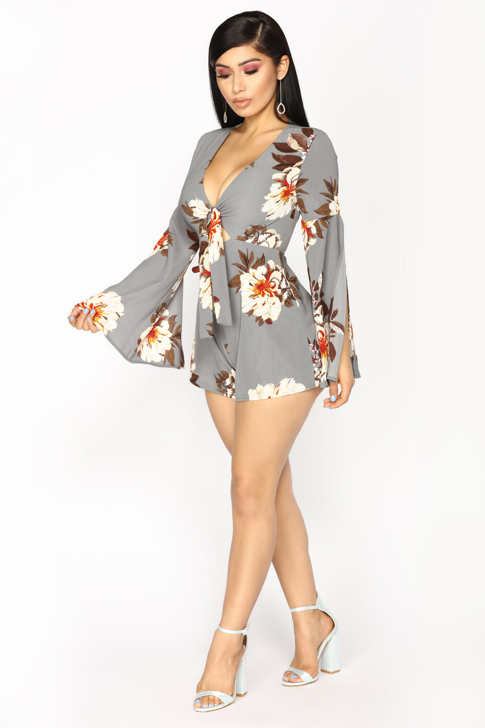 Walks Of Life Floral Romper - Grey Floral