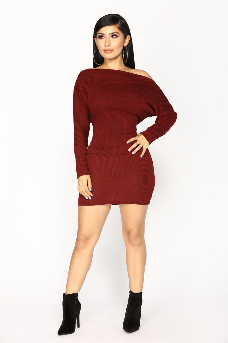 Dolman Daze Mini Dress - Wine