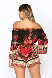 South Of The Bay Print Romper - Black