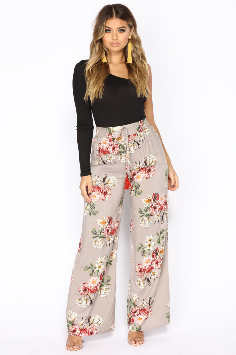 Angie High Rise Pants - Grey