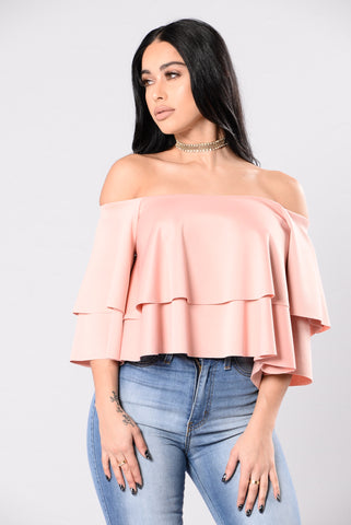 A Ruffle Or Two Top - Mauve
