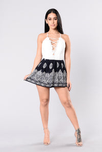 Rock With You Romper - White/Navy