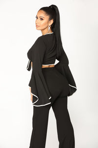 Visions Of Love Bell Sleeve Top - Black