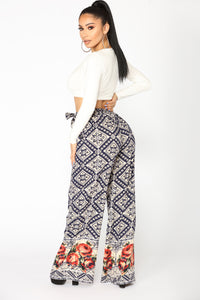 Shannon Tie Waist Pants - Navy Floral
