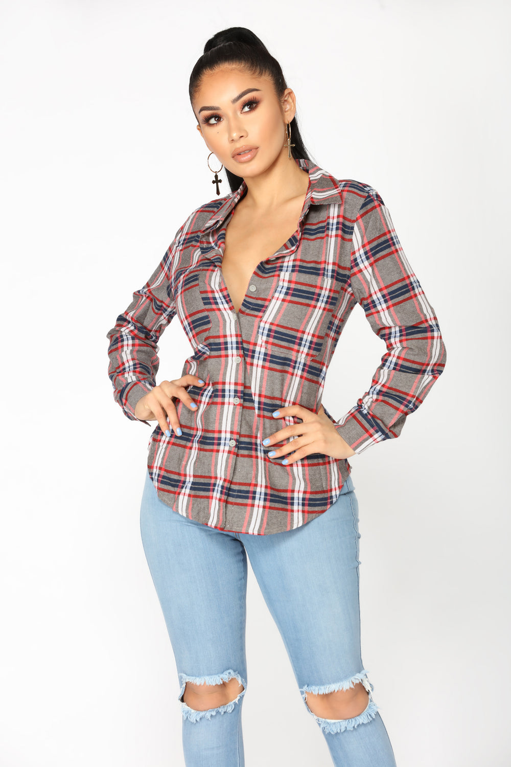 All Season Plaid Top - Grey/Multi