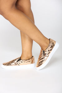 Shine And Grind Slip On Sneaker - Rose Gold