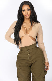Don't Wanna Talk Cut Out Bodysuit - Nude