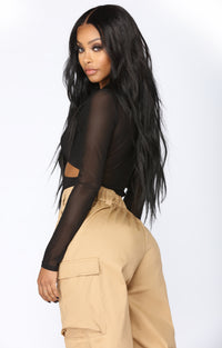 Don't Wanna Talk Cut Out Bodysuit - Black