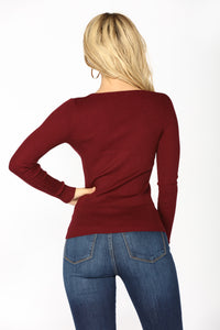 The Perfect Sweater Top - Burgundy