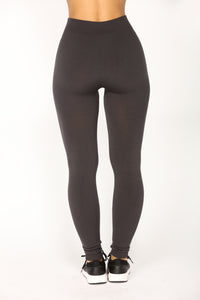 Effortless Fleece Leggings - Charcoal