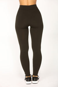 Effortless Fleece Leggings - Olive
