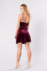 Be My Girl Shift Dress - Burgundy