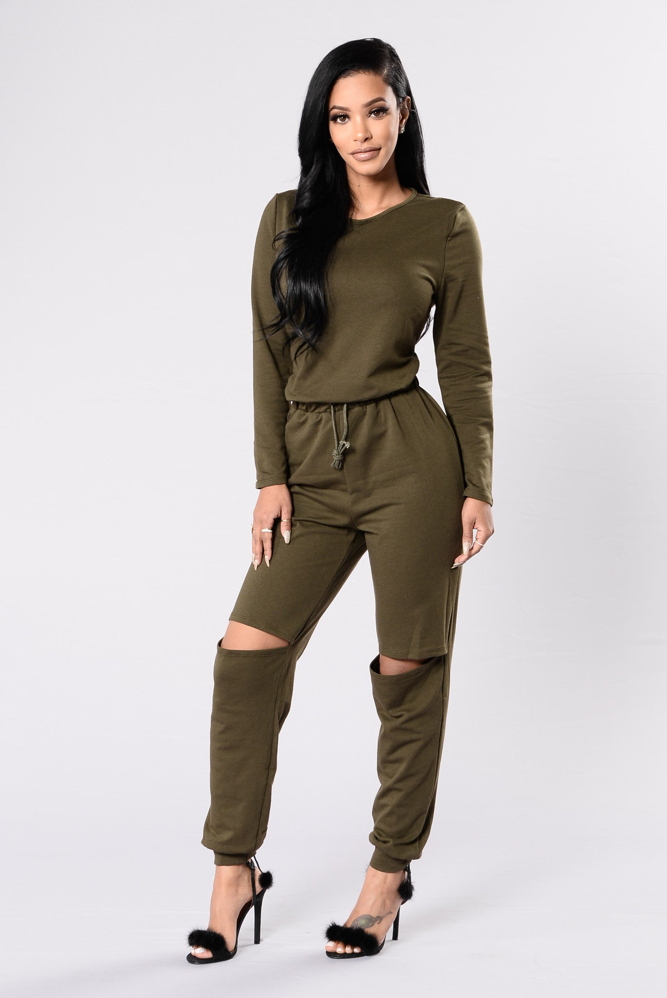 On The Run Jumpsuit Olive