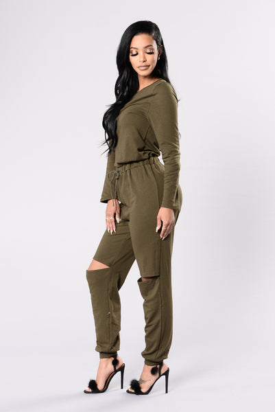 On the Run Jumpsuit - Olive