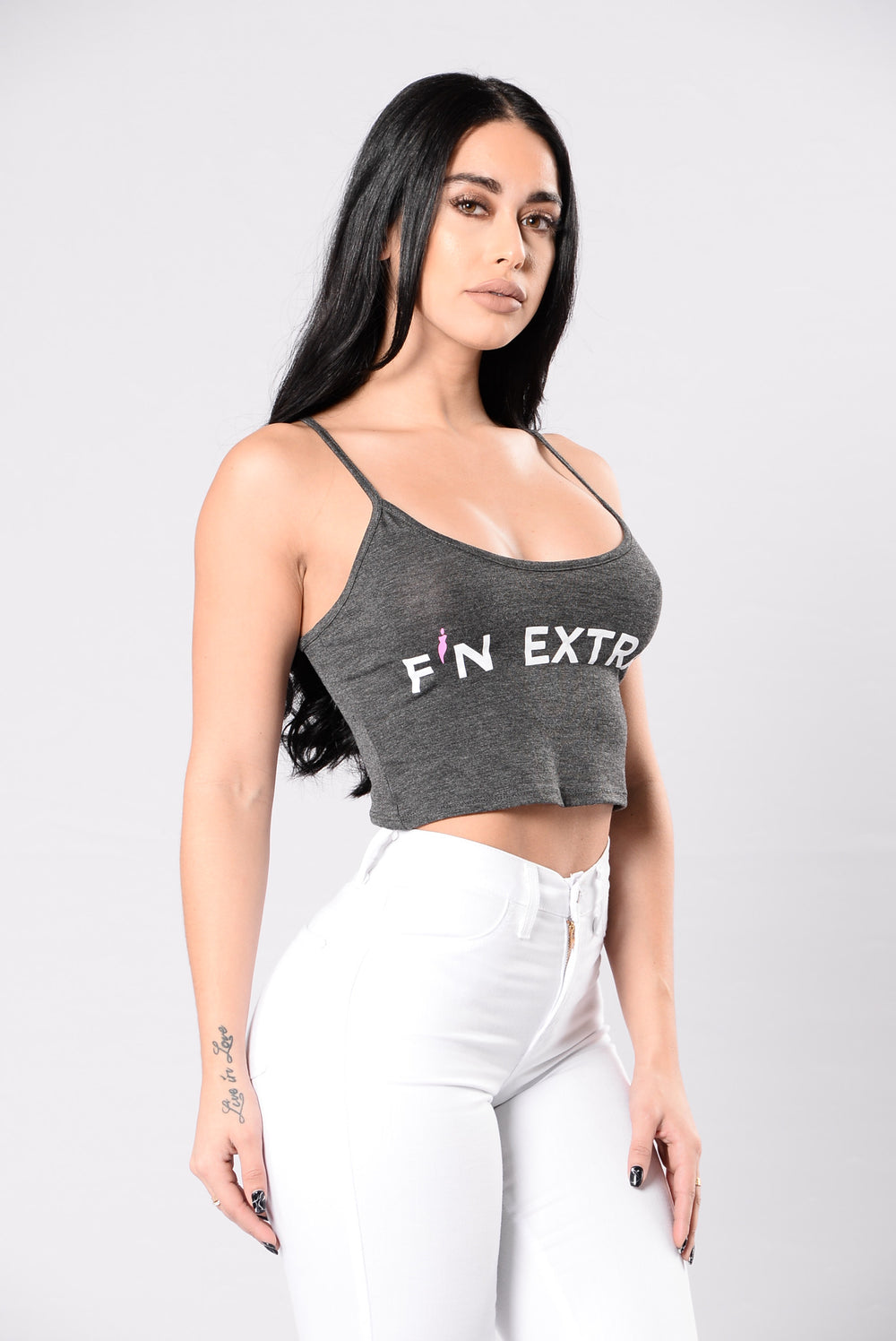 F'N Extra Crop Top - Charcoal